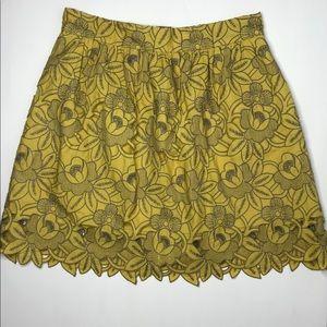 Tibi Yellow & Gray Eyelet Embroidered Skirt